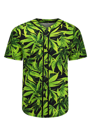 NEW Men Button Up Weed Print Shirt Short Sleeve