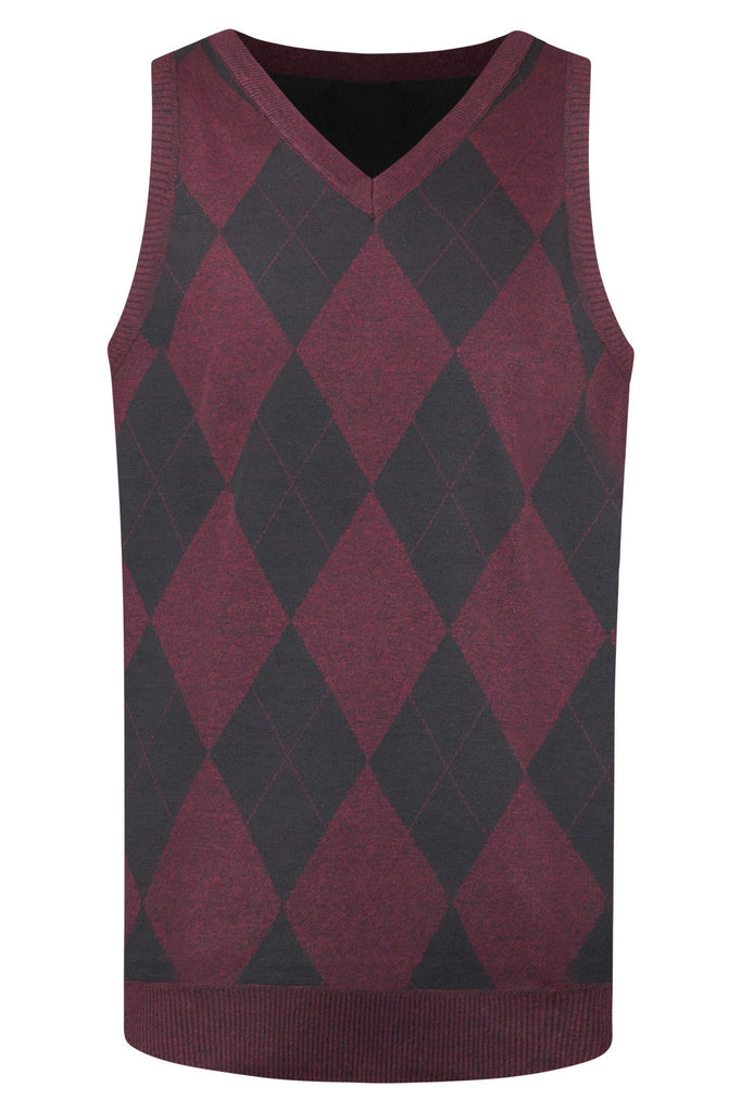 New Men Diamond Shape Preppy Vests