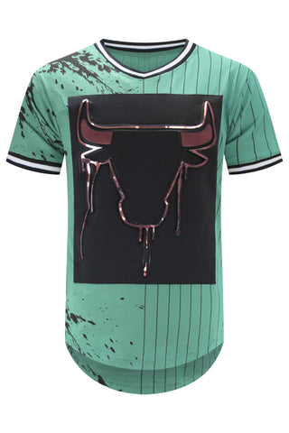 New Men Bulls Gold Embossed Longline Jersey