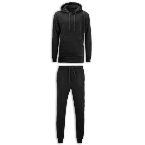 NEW Men Fleece Sweat Suit Quilted Biker Joggers Jacket Hooded Shirt