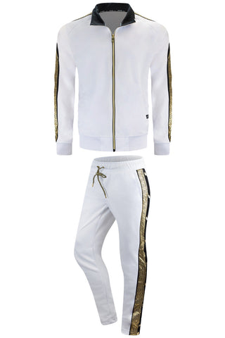 NEW Men Fleece Sweatsuit Tribal Gold Foil Track Suit