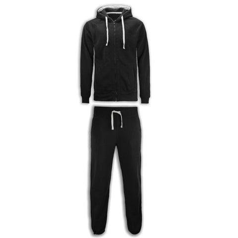 NEW Men Fleece Sweatsuit Track Suit Joggers Jacket Hooded Long Sleeve Drawstring