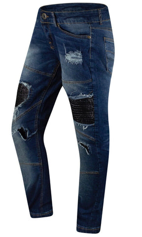 New Denim Biker PU Jeans Slim Fit