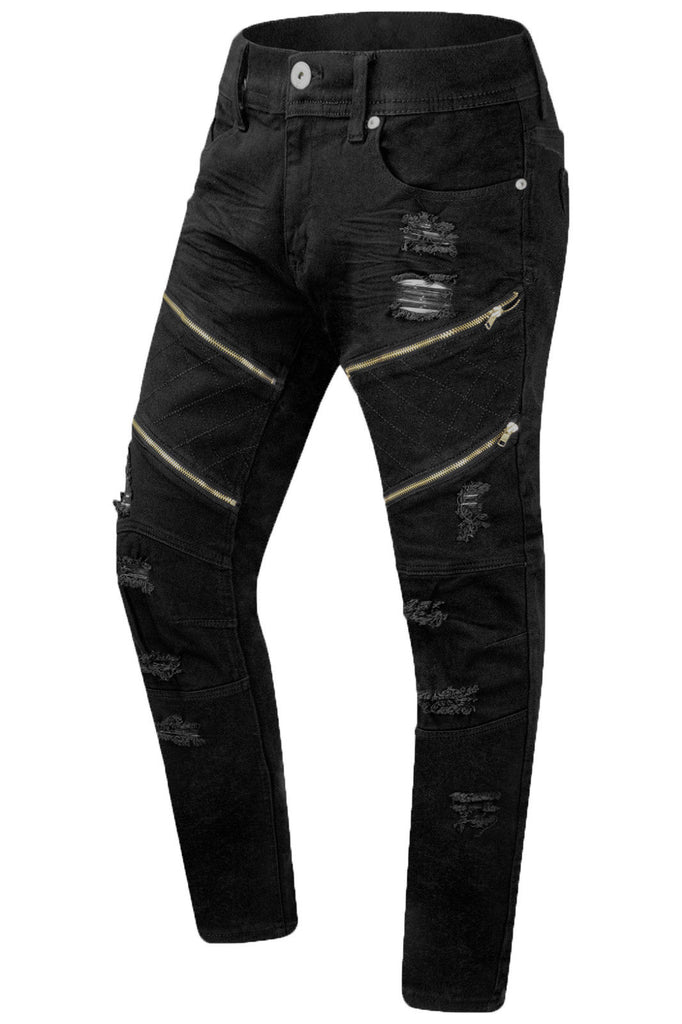 New Men Ripped Distressed Gold Zipper Jeans – Trending Apparel