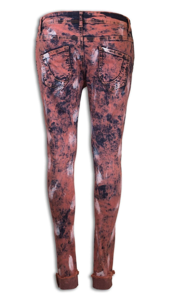 NEW Women Paint Ripped Splattered Distressed Boyfriend Jeans Pants Orange Blue