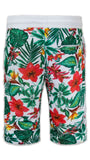 NEW Men French Terry Shorts Jungle Floral Flower Hawaii Print Short ALL SIZES