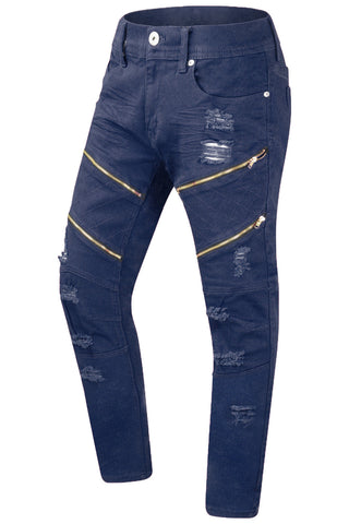 New Men Ripped Distressed Gold Zipper Jeans