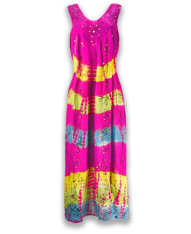 NEW Women Shoulder Blouson Maxi Dress Gown Rhinestones Colorful Summer One Size
