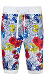 NEW Men French Terry Joggers Shorts Jogger Short Floral Jungle Hawaii
