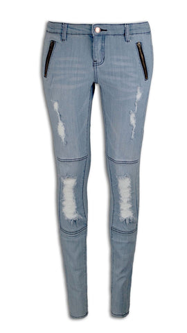 NEW Women Skinny Slim Fit Zippered Pocket Light Blue Jeans Ripped Distressed