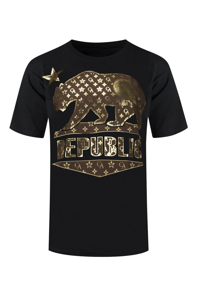 NEW Men T-Shirt Gold Plated CA California Cali Republic Bear Shirt Sizes L-5XL