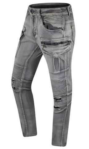 New Denim Cargo Biker Stretchy Slim Fitted Jeans