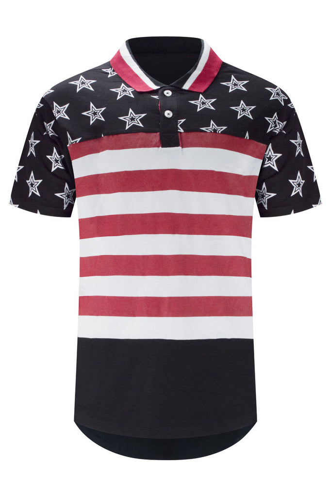 New Men Stars Polo Stripped Longline Tee