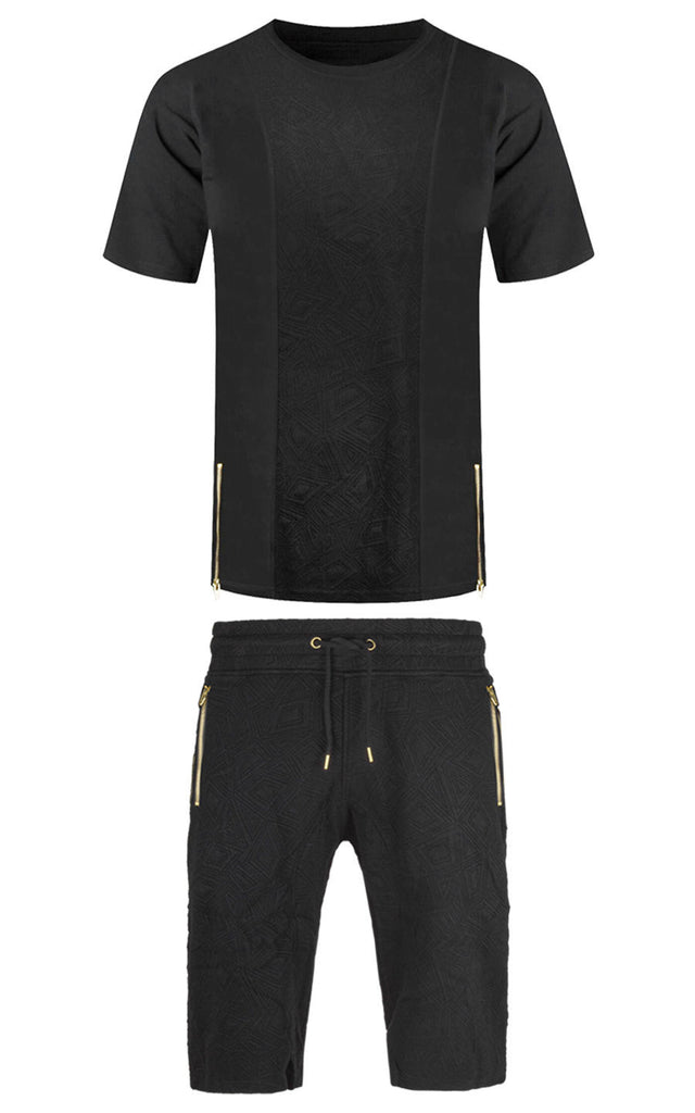 New Men Matching Set Short Sleeve Shirt Shorts Side Zipper