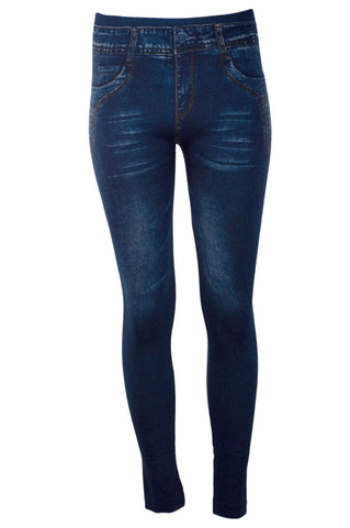 Jeggings Leggins Jean Denim Elastic Stretch Slim Fit Skinny One Size Pants Pant
