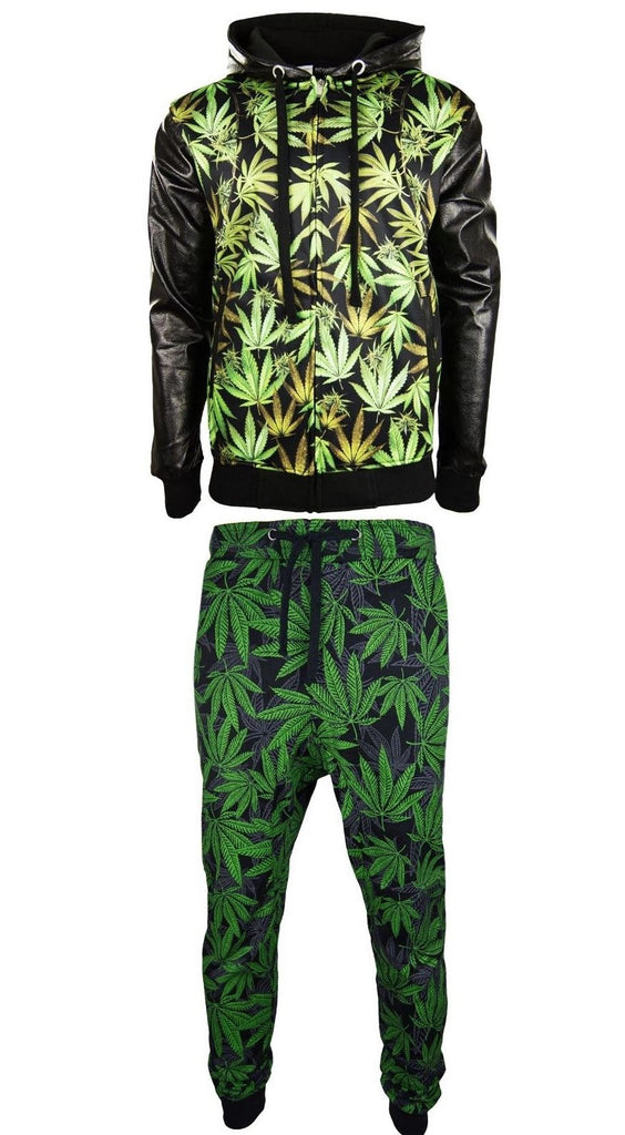 Men Weed Outfit Joggers Jacket Long Sleeve Black Green Hoody Pants Leather Hoody