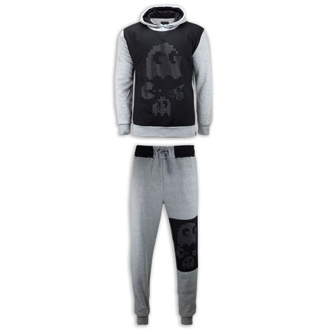 NEW Men Pacman Sweat Suit Game Sweats Joggers Sweatshirt Track Suit Black Gray
