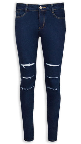 NEW Women Ladies Jeans Pants Denim Ripped Distressed Light Dark Blue ALL SIZES