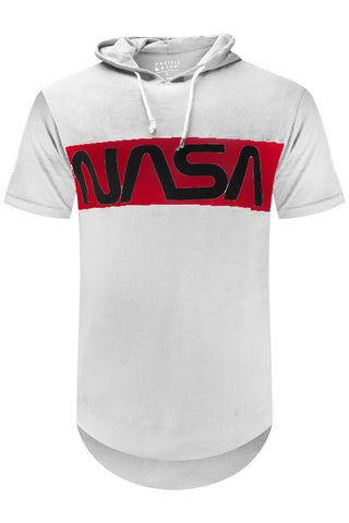 Hooded Nasa Text T-shirt