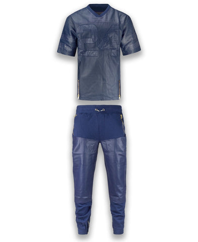 NEW Men FAUX Leather Jersey Style #24 Set Joggers & Shirt Side Zipper