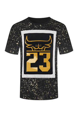 New Men Paint Splatter Bulls T-Shirt