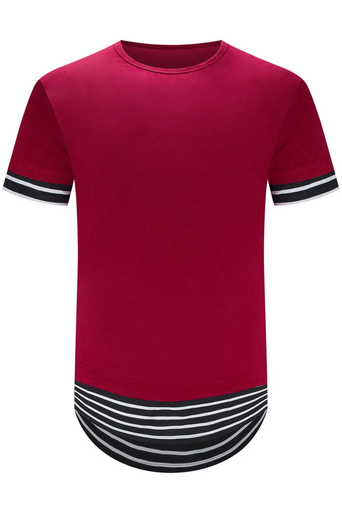 New Men Longline Striped T-Shirt