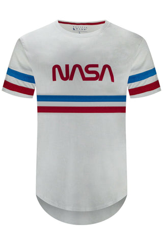 White NASA Striped T-Shirt