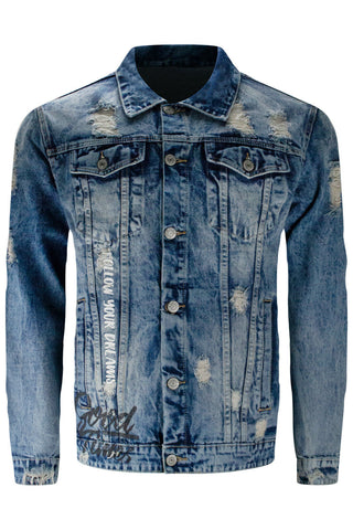 New Denim Washed Blue Distressed Jacket