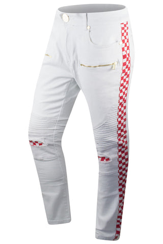 New Men Denim Checkered Track Jeans