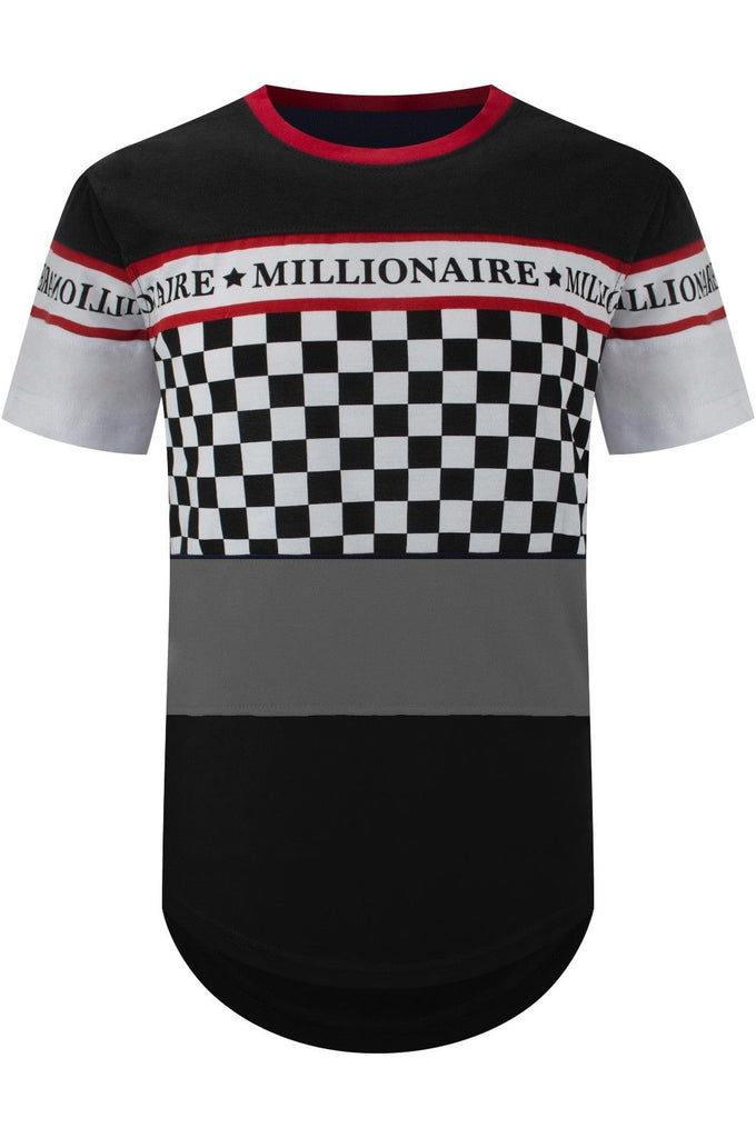 New Men Millionaire Checkered Longline T-Shirt