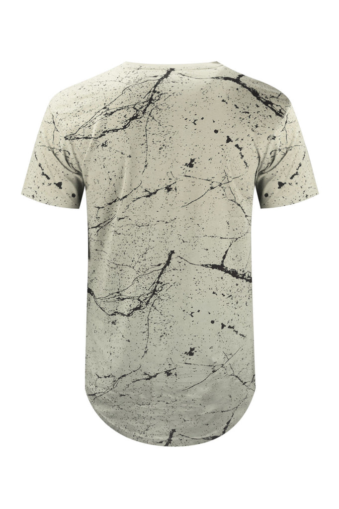 NEW Men Paint Splatter Longline Tailed Shirt 2 Tone Red Yellow White Sizes S-XL