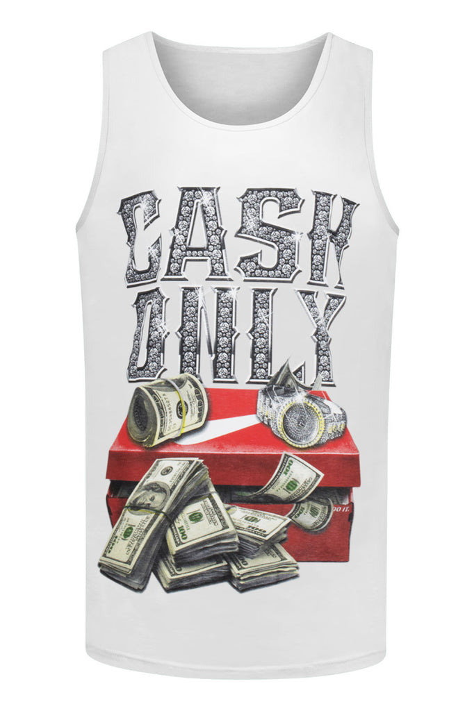 NEW Men Cash Only Tank Top Shirt Shoe Box Money Size M L XL 2XL 3Xl Black White