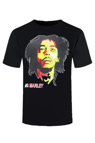 New Men Bob Marley Shirt Black White Geometric Weed Dope Peace Sizes S-XL