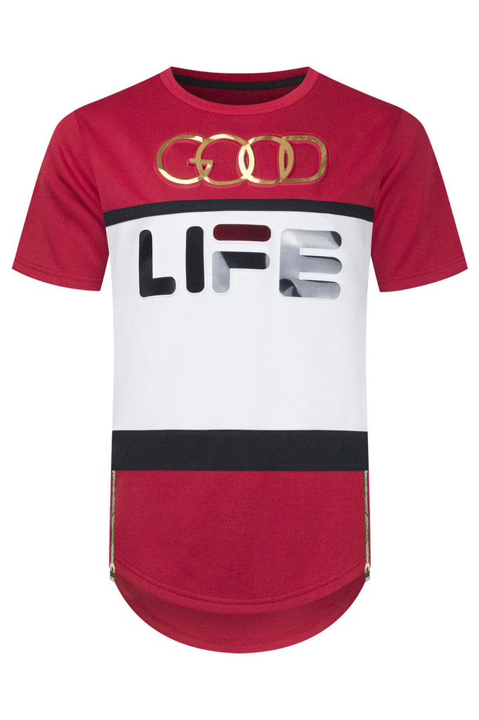 New Men Good Life Embossed Longline T-Shirt