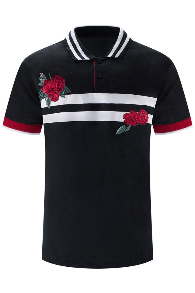 New Men Polo Roses Striped T-Shirt