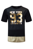 NEW Men Quilted New York Brooklyn Longline Short Sleeve Shirt ALL SIZES Gold