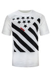 NEW Men Star Black Shirt Stripes Shirt ALL SIZES White Fashion USA