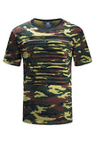 NEW Men Camo Short Sleeve Chest Zipper Ripped Distressed Shirt Tee Longline Tail