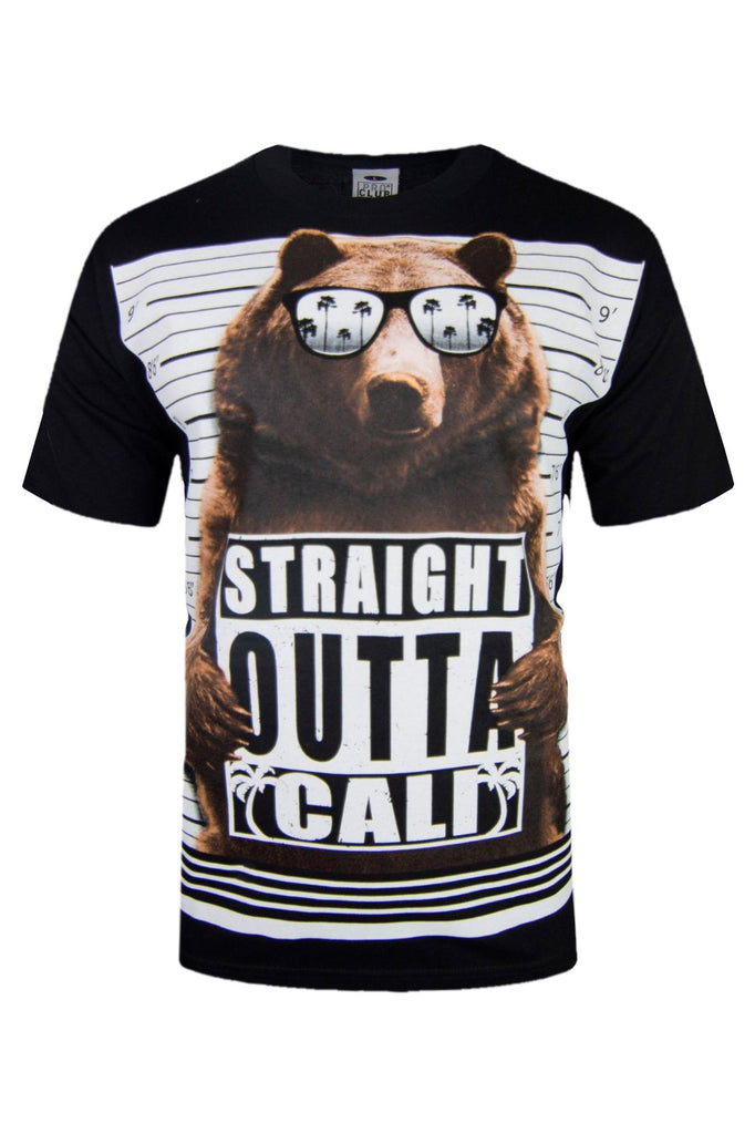 Cali Men Shirt Straight Out Of Cali Shirt Jail Card Bear Palm Trees Tee ALL SIZE