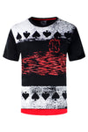 NEW Men Spade Ace Short Sleeve Black Red Shirt 2 Tone Side Rip Longline Tee