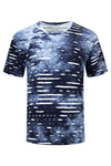 NEW Men Ripped T-Shirt Space Blue White ALL SIZES Distressed Shirts ALL SIZES