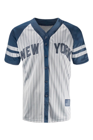 NEW Men New York Yankees Jersey Gray White Black Button Up Shirt USA S-2XL