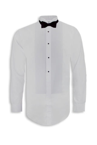 NEW Men Button Up Long Sleeve Shirt FREE Bow Tie White Collar S M L XL Tuxedo