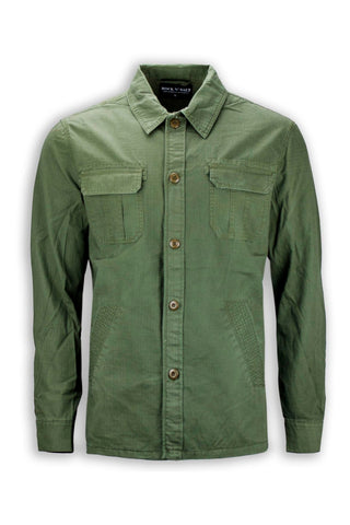 NEW Men Casual Button Up Shirt Long Sleeve Green Army 2 Chest Pockets