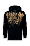 NEW Men Bald Eagle Paint Splatter US Jacket Hoodie Sweater Long Sleeve Pant Trim