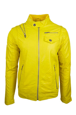 Men Yellow Leather High-End Luxury Jacket Zipper Slim Fit
