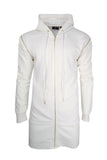 Men Extra Longling White Long Sleeve Shirt Should Zippers Gold Zip Up Sweater