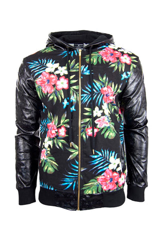 Men Flower Size Zipper Jacket Plants Leather Sleeves Sweater Zip Up Long Sleeve