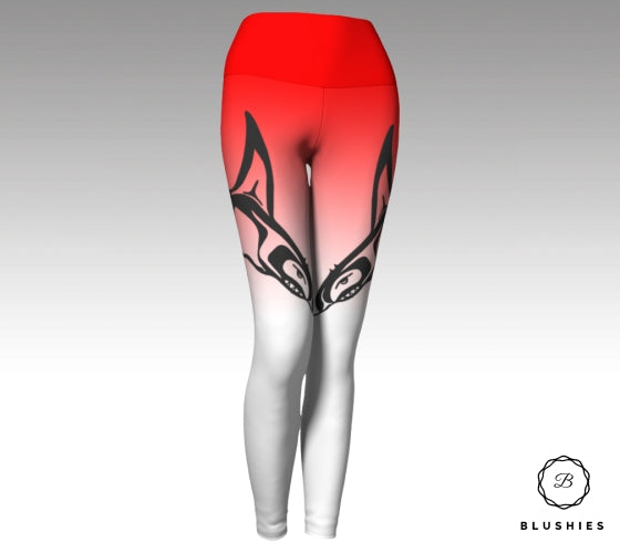 Whale Printed Red Ombre Legging