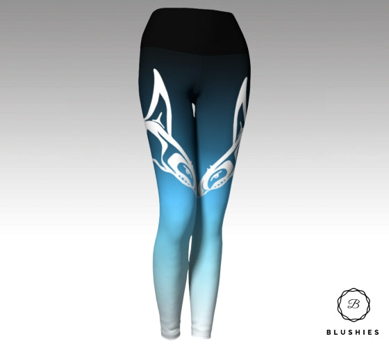 Whale Printed Dark Blue Ombre Legging